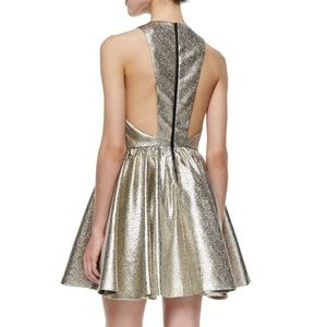 Alice and Olivia metallic gold Tevin dress